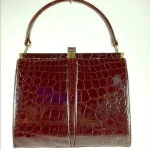 Lesco reptile embossed brown leather handbag